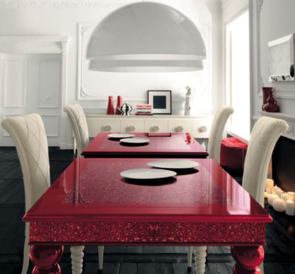 Stunning high gloss red dining table is an instant show stopper!