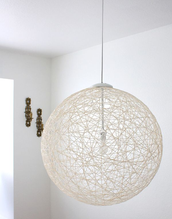 Coolest DIY Pendant Lights - Diy cloud like yarn lampshade