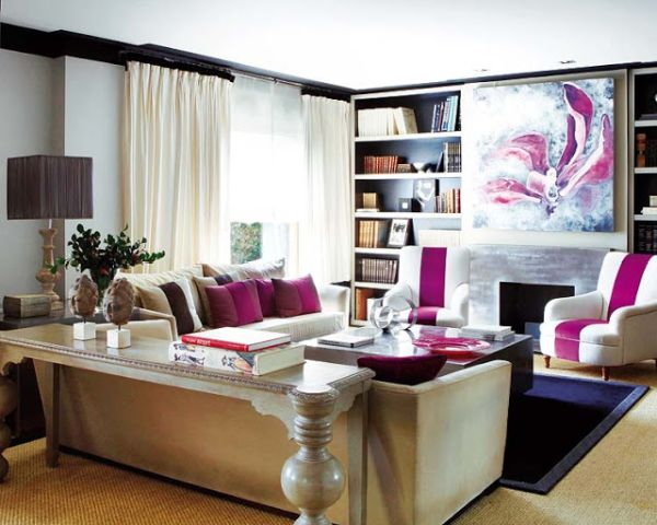 Stylish living room in white and chic Fuchsia