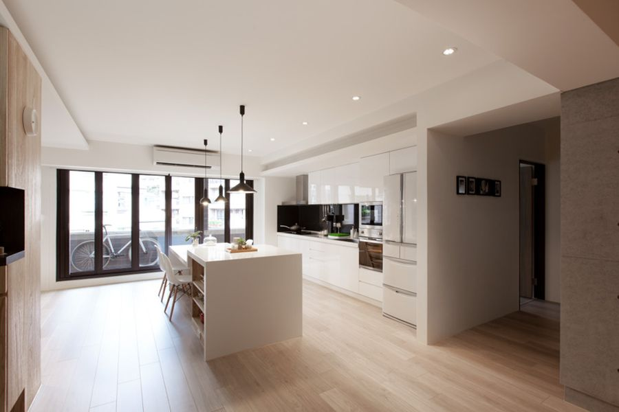 Stylish modern kitchen in white Contemporary Child Friendly Apartment For A Young Urban Family!
