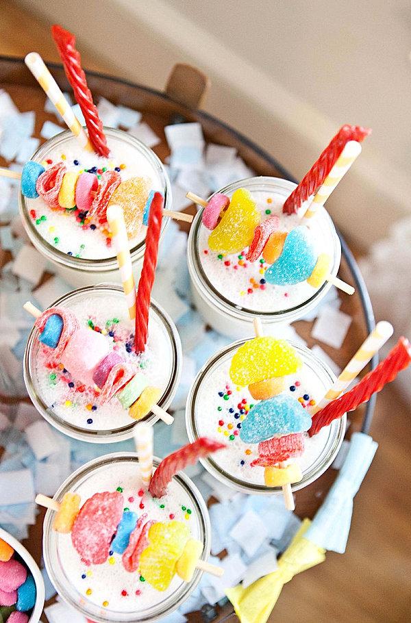 Tasty candy vanilla milkshakes
