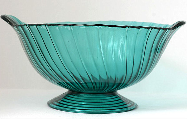 Teal swirl depression glass