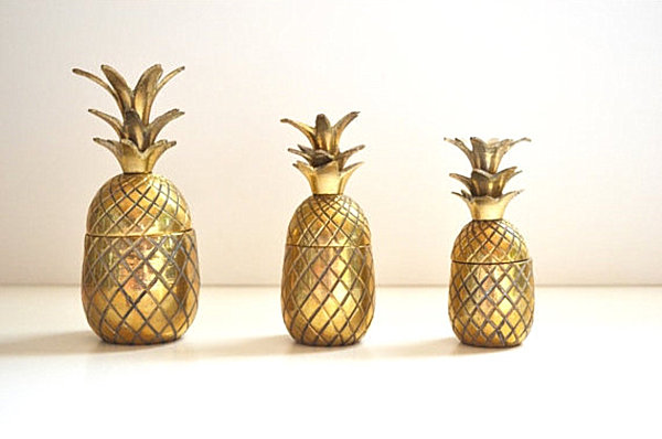Three brass vintage pineapples