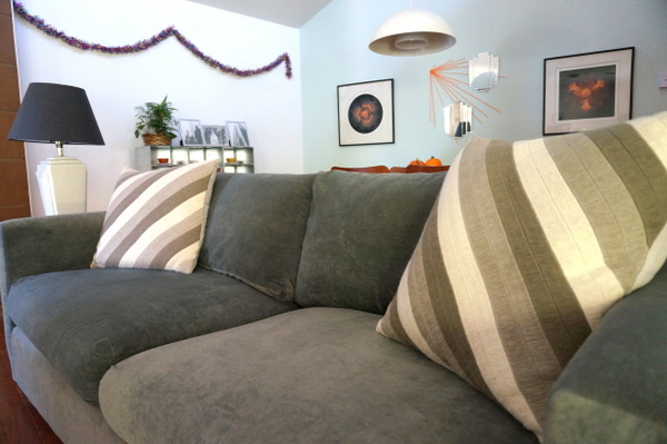 Throw pillows add style to a couch in a solid hue