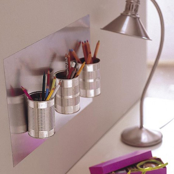 Tin can desk organizer