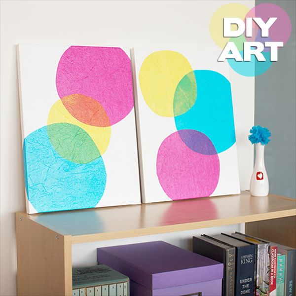 Tissue paper wall art