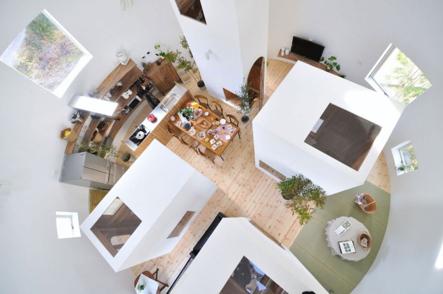 Tower like structures on the inside of Japanese home