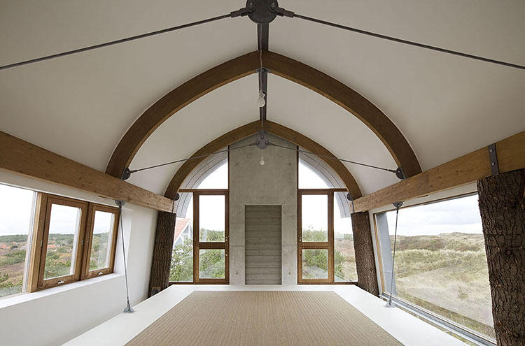 Tree trunks become a natural part of the interior
