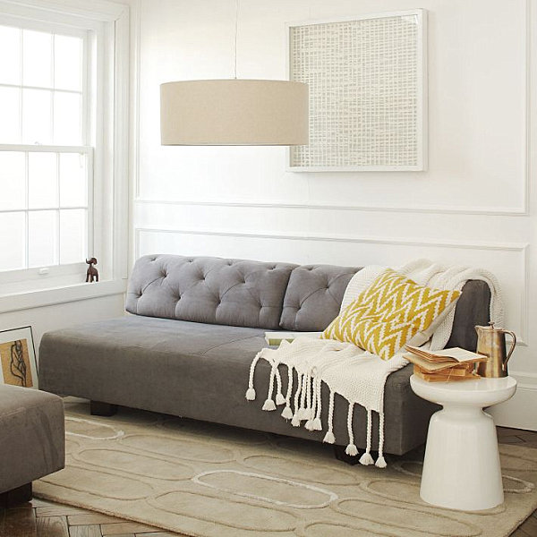 Tufted gray sofa