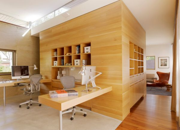 Twin workstation ome office design for those who are easily distracted!