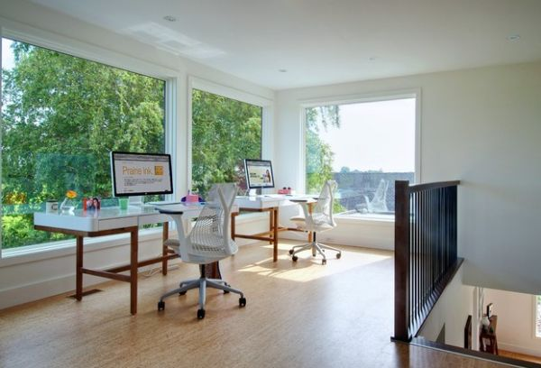Two identical workstations in a home office for a couple