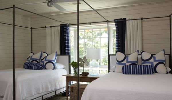 Usher in the coastal theme with subtle touches of color