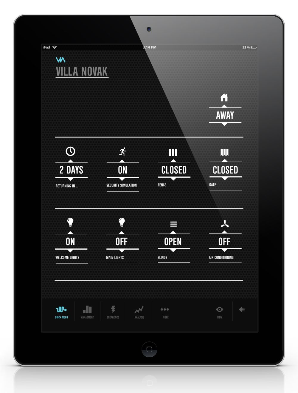 VIA menu display on iPad