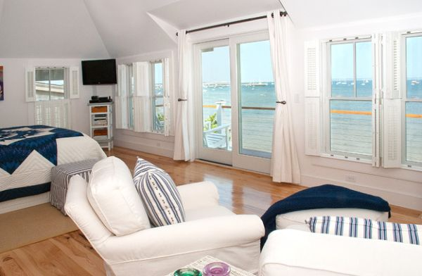 View outdoors adds to the beach style inside the bedroom