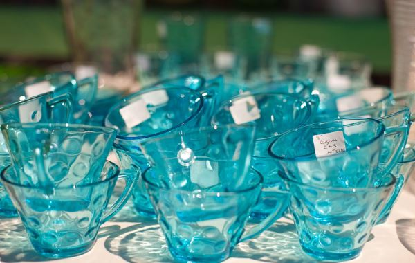 Vintage glassware at the Brimfield Antique Festival