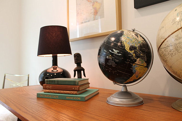 Vintage globes in a home office