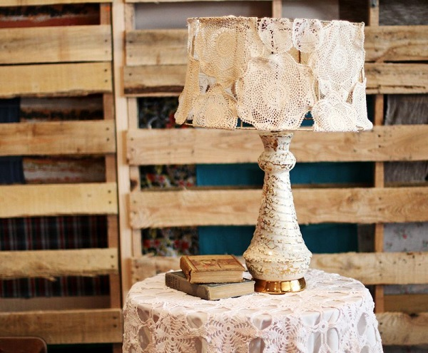 Vintage lamp shade made from doilies