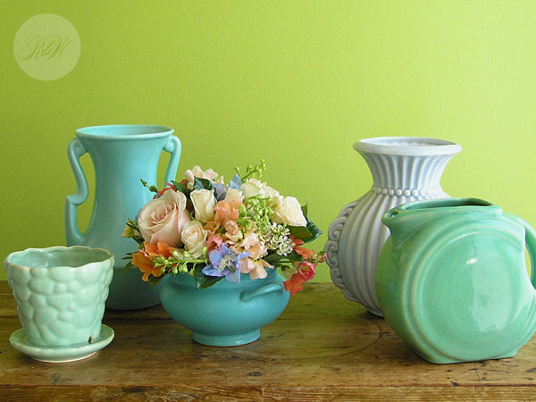 Vintage pottery in blues and greens