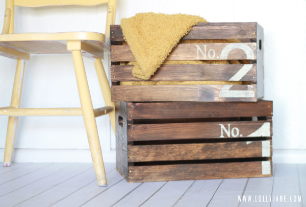Vintage wooden crate with numbers