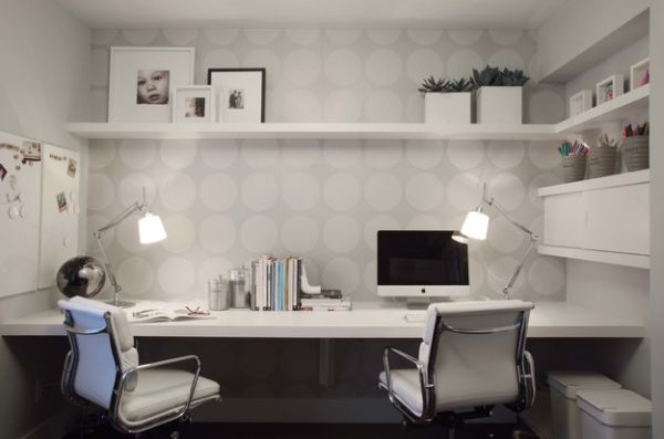 View In Gallery Wallpaper Adds To The Home Office In A Subtle And Classy  Manner