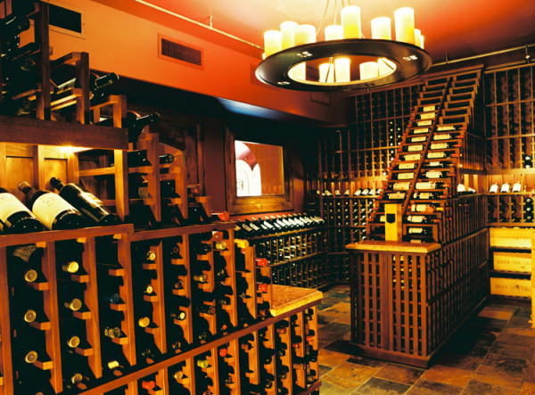 Waterfalls design in California wine cellar