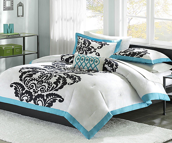 White comforter with blue and black accents
