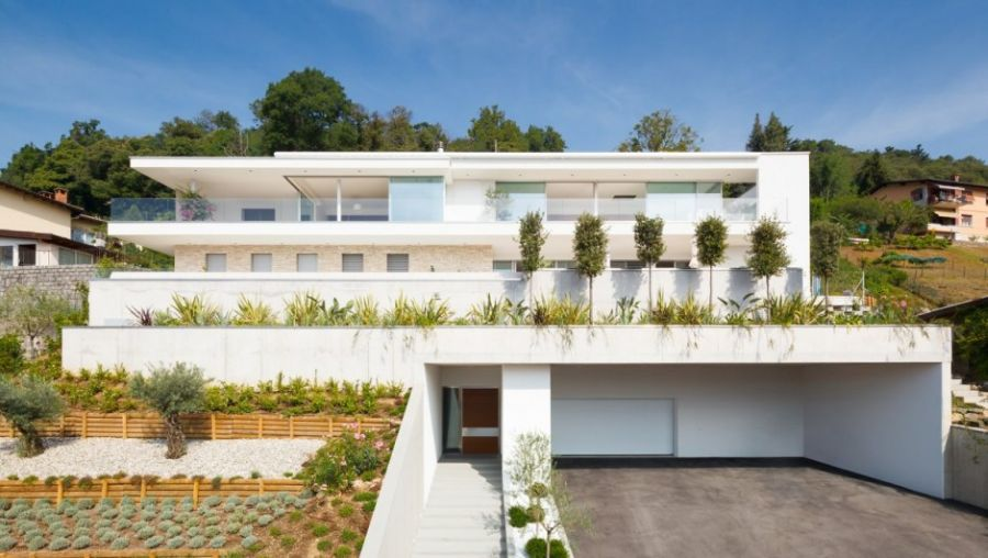 White modern facade of House Lombardo