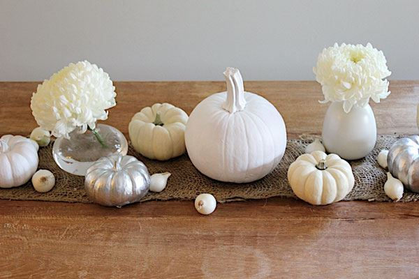 White pumpkin centerpiece idea