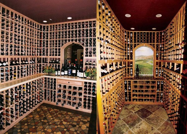 Wine cellars in San Francisco and Greenbrae California with nooks and designer tile floors