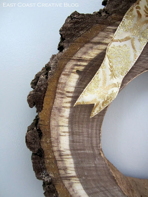Wood wreath with gold ribbon