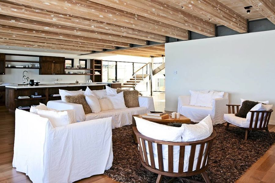 Wooden beams accentuate the ceiling