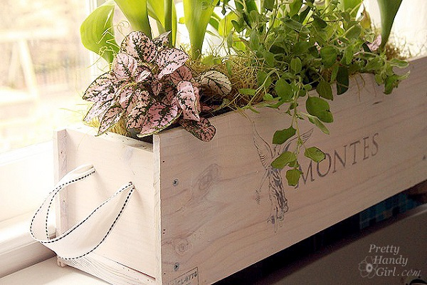 Wooden crate flower box