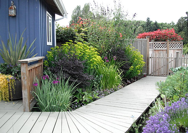 Wooden deck outside of a garden shed