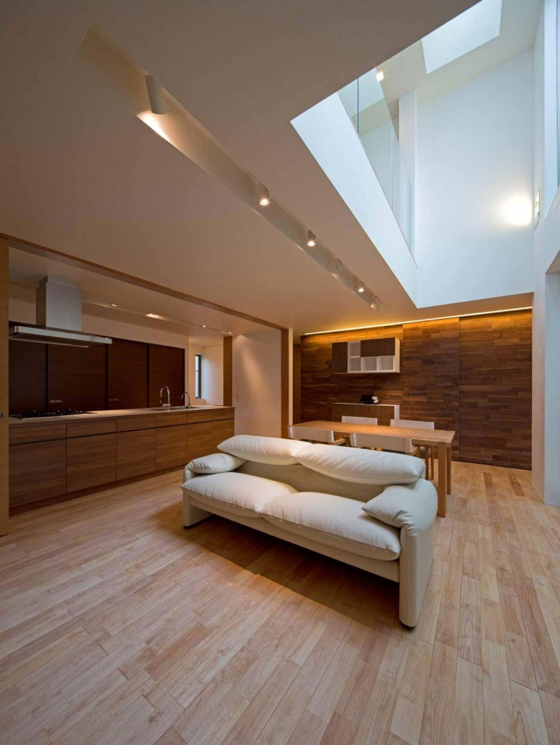Wooden flooring and walls inside Fukuoka House, Japan
