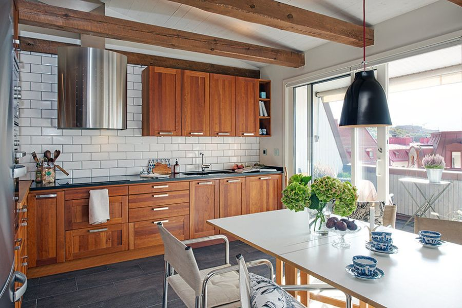 Wooden shelves in the kitchen