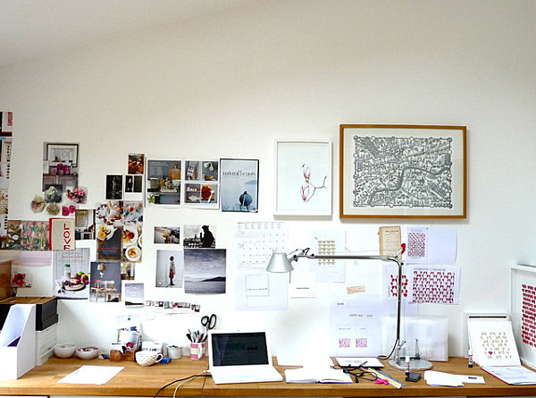 Work area with inspirational pictures