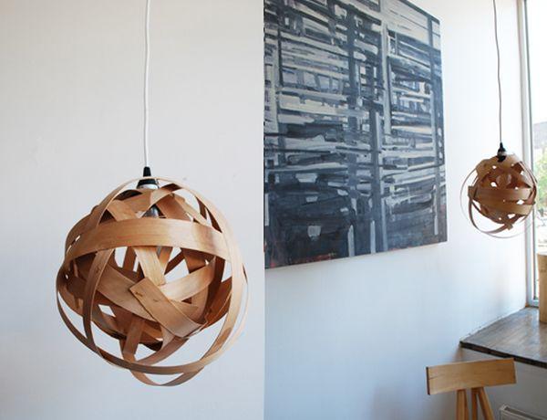 Woven wood veneer pendant lamp