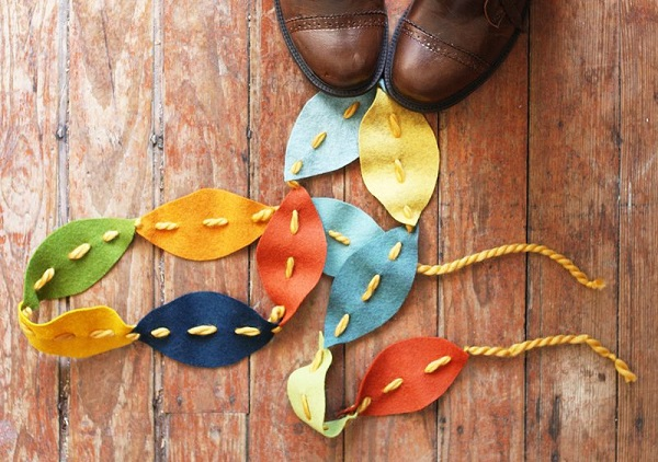 Yarn and felt leaf garland