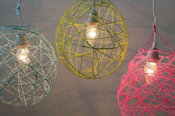Yarn Pendant Lights DIY