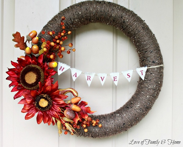 Yarn wrapped harvest wreath