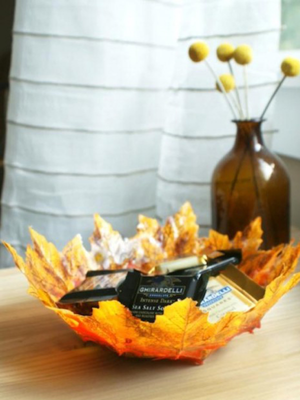 Yellow and red leaf bowl diy