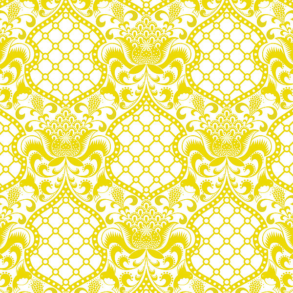 Yellow brocade wallpaper from Jonathan Adler