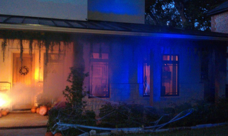 dark blue Halloween lighting and fog with bright entrance