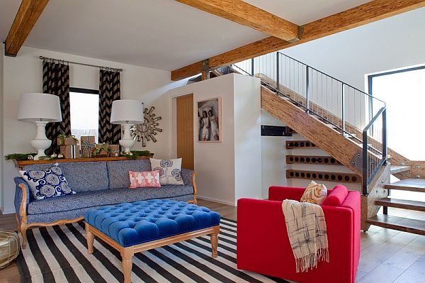 eclectic living room with exposed beams