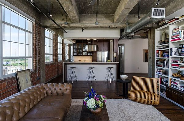 industrial living room with exposed wooden beams