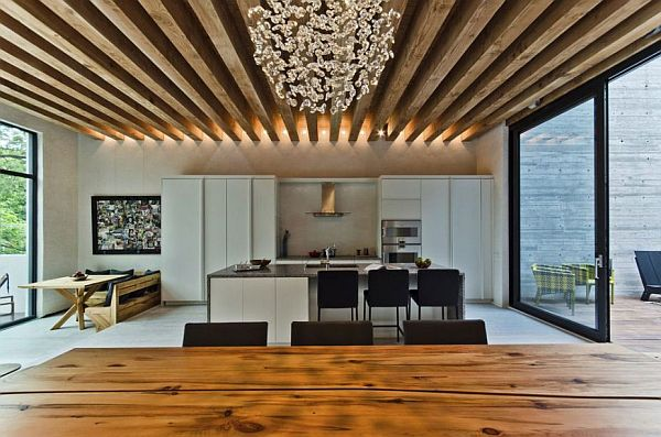 kitchen with wooden exposed beams