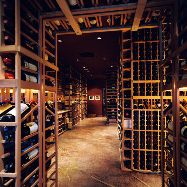 large wine cellar in Yontville California with unusual designs in polished concrete floor
