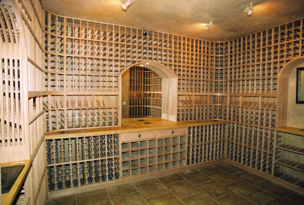 wine cellar in Santa Rosa with three nooks and beautiful stone tile