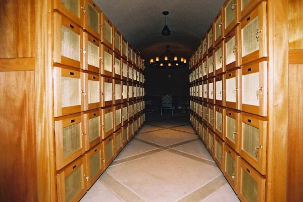 wine lockers at Calistoga Ranch California