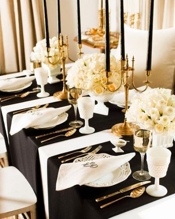 Add a hint of gold to the black and white decor